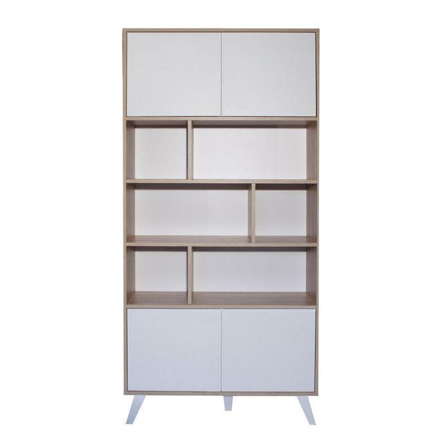 Symbiosis - Bibliothèque 4 portes, 6 niches en bois et pieds biseautés H187cm Prism - Chêne/Blanc 0cm x 0cm x 0cm