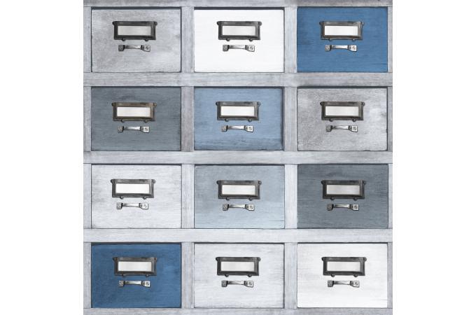 Papier Peint Tiroir Bleu-Gris