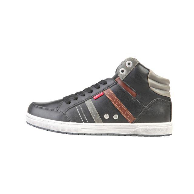 b80fee9b7a820 Buzzao - Chaussures de tennis hautes à lacets semelle caoutchouc noir homme  - Levis - pas cher Achat   Vente Baskets femme - RueDuCommerce
