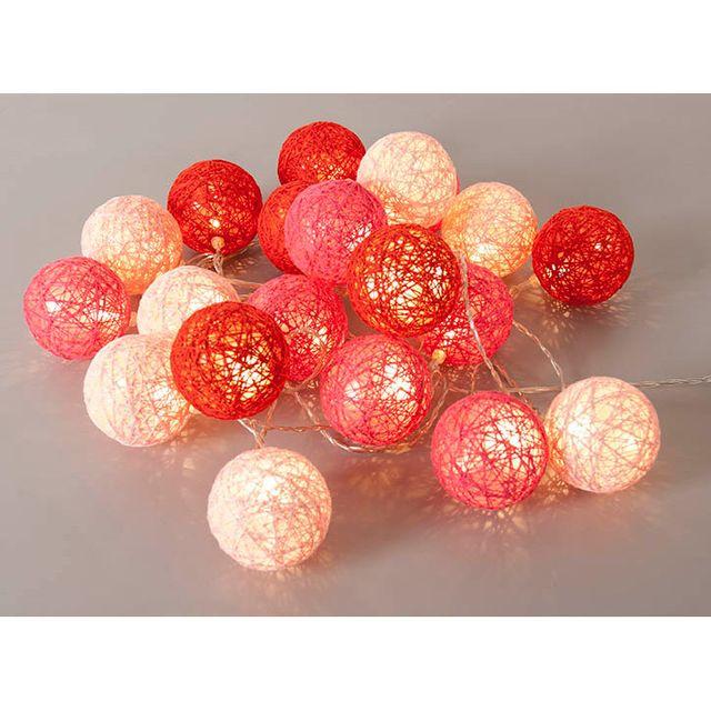 corep guirlande lumineuse 20 boules led en coton tress bubble rouge noir pas cher achat. Black Bedroom Furniture Sets. Home Design Ideas