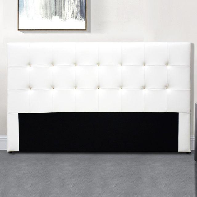 Meubler Design Tête De Lit Capitonnée Capitole - Blanc tête de lit - 140 cm