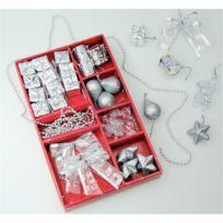 Somoplast - 2 Lots de suspensions argentées - 64 décorations pour sapin de Noël