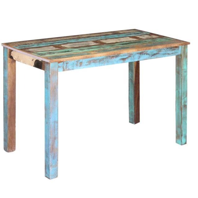 Joli Tables famille Palikir Table de salle à manger Bois de récupération 115 x 60 x 76 cm