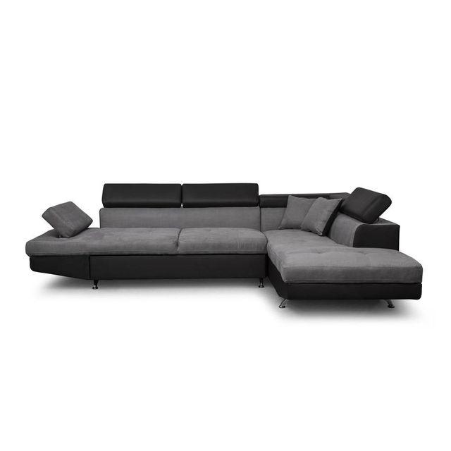 USINESTREET Canapé d'Angle Droit Convertible avec coffre Noir/Gris RIO