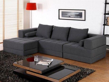 Canapé d'angle modulable en tissu SISCO - Gris