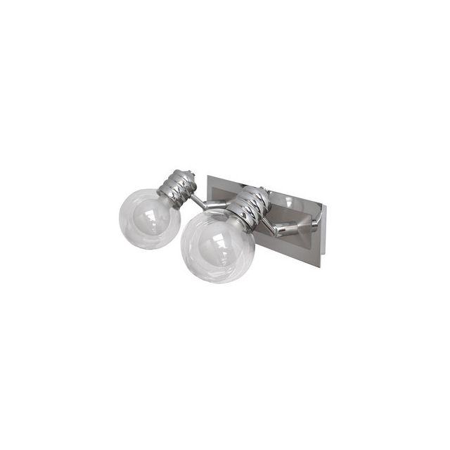 Applique double pour salle de bain en métal et verre ...