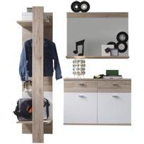 Comforium - Ensemble meubles pour hall d'entrée coloris chêne san remo et blanc