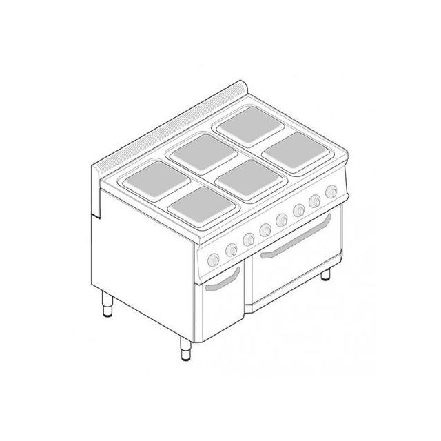 Materiel Chr Pro Fourneau électrique sur four électrique statique Gn 2/1 et placard - 6 plaques carrées - gamme 700 - modules 350 - Tecno