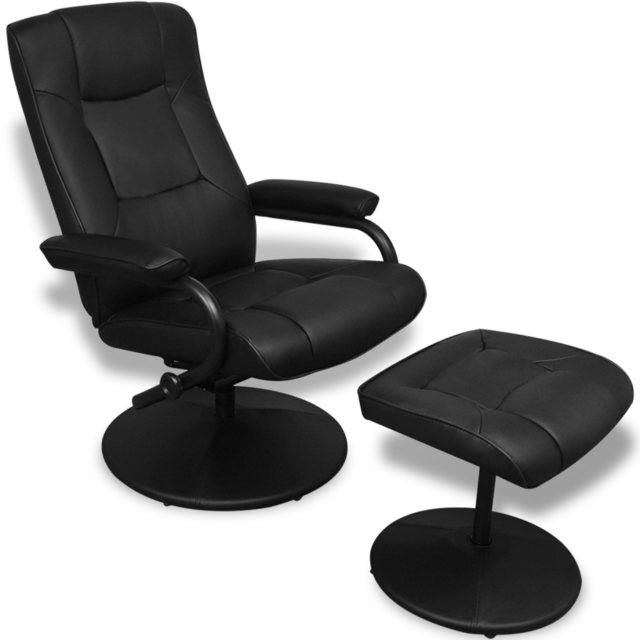 Vidaxl Fauteuil Tv en cuir artificiel noir avec tabouret