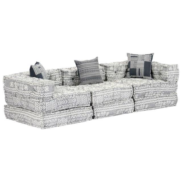 Vidaxl Canapé-lit modulaire à 3 places Gris clair Tissu