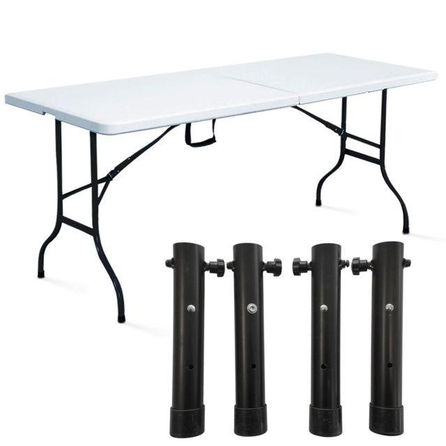 Mobeventpro Table pliante de camping 180cm 8 places blanche + 4 réhausseurs