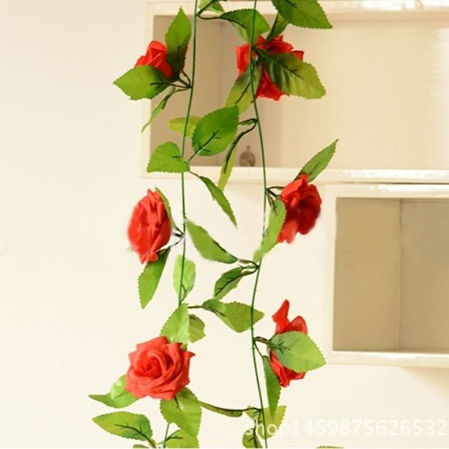 Fleurs Artificielles champagne pour décoration de mariage à domicile,  Longueur 2.5 m, Aléatoire Couleurs Simulation de Faux Champagne Rose Ivy  Vigne