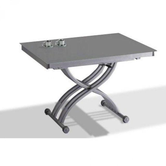 Inside 75 Table basse Form relevable extensible, plateau en verre gris