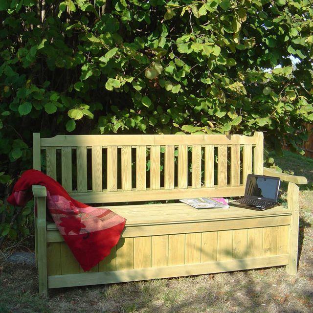 Cemonjardin - Banc de jardin 4 places avec coffre en bois ...
