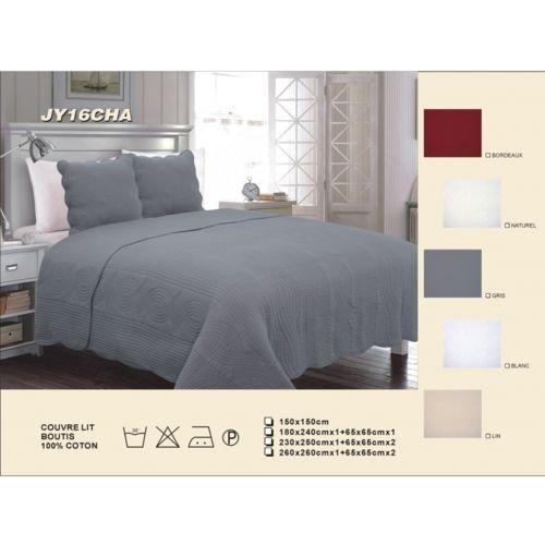 decor d 39 autrefois couvre lit boutis uni piquage vagues 100 coton nc pas cher achat vente. Black Bedroom Furniture Sets. Home Design Ideas