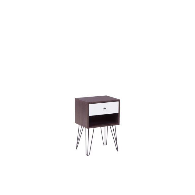 Table de chevet en bois avec un tiroir ARVIN marron foncé