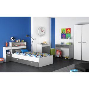 modern design chevet 1 tiroir george blanc gris lit. Black Bedroom Furniture Sets. Home Design Ideas