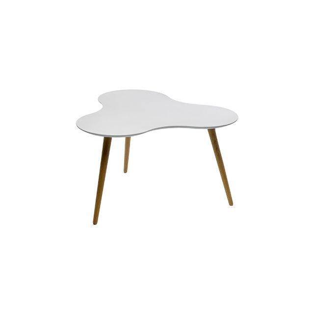Table basse en Mdf plateau blanc 80x80x43cm