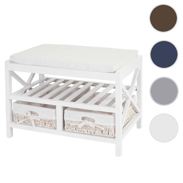 Mendler Étagère à chaussures, banquette 45x65x34cm, style shabby, vintage ~ blanc