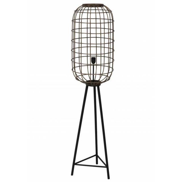 Eclairage Trépied Toah Lampe sur Pied Industrielle Luminaire d'Appoint Moderne en Métal Patiné Bronze et Noir 36,5x36,5x151cm