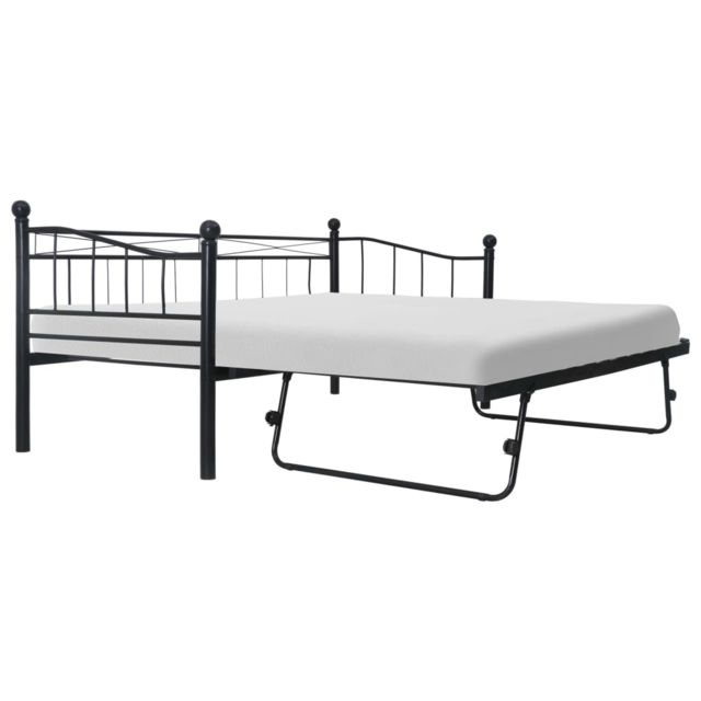 Vidaxl Cadre de lit Noir Acier 180x200/90x200 cm
