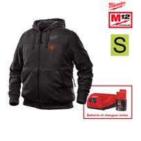 Milwaukee - Sweat chauffant noir M12 Hh Bl2-0 Taille S 4933451611 - Batterie M12 2.0Ah et chargeur C12C 4933451900