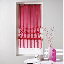 Douceur D'INTERIEUR - Un store droit à passant - rideau voile sable raye malta rose fushia 45 x 180 cm