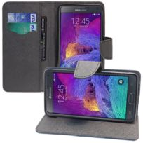 Vcomp - Housse Coque Etui portefeuille Support Video Livre rabat cuir Pu effet tissu pour Samsung Galaxy Note 4 Sm-n910F/ Note 4 Duos Dual Sim, N9100/ Note 4 CDMA, / N910C N910W8 N910V N910A N910T N910M - Noir