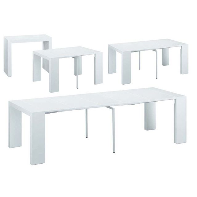 HABITAT ET JARDIN Table repas extensible Elsa - 50/300 x 94 x 75 cm - Blanc