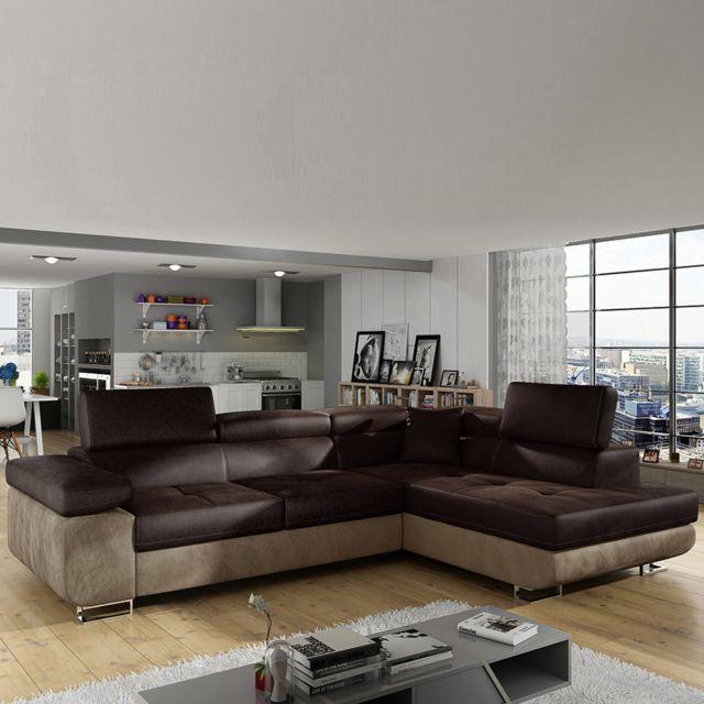 Sofamobili Canapé d'angle à droite marron foncé et clair Scott