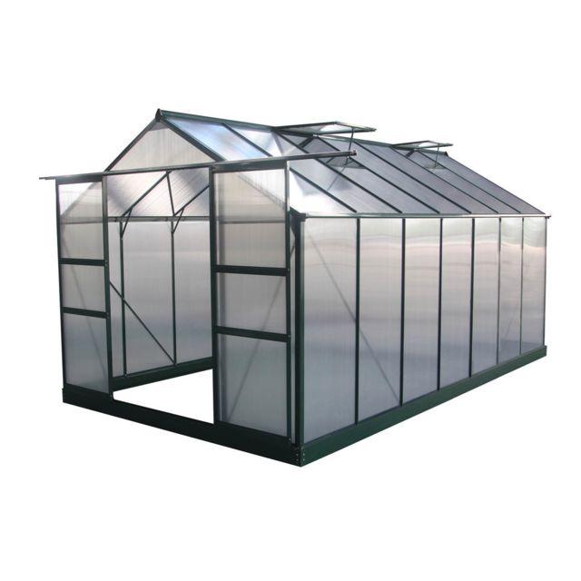 habitat et jardin serre jardin polycarbonate dahlia vert sapin 1329 m - Serre Jardin