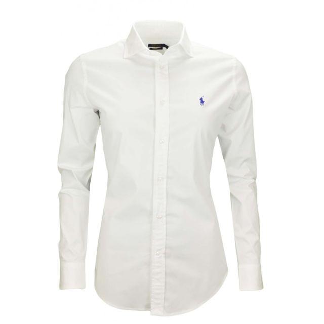 9ebebc792ed9 Ralph Lauren - Chemise Kendall blanche slim fit pour femme - pas cher Achat    Vente Chemise femme - RueDuCommerce
