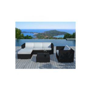 Declikdeco - Salon de jardin en résine tressée noir et blanc Lagon ...