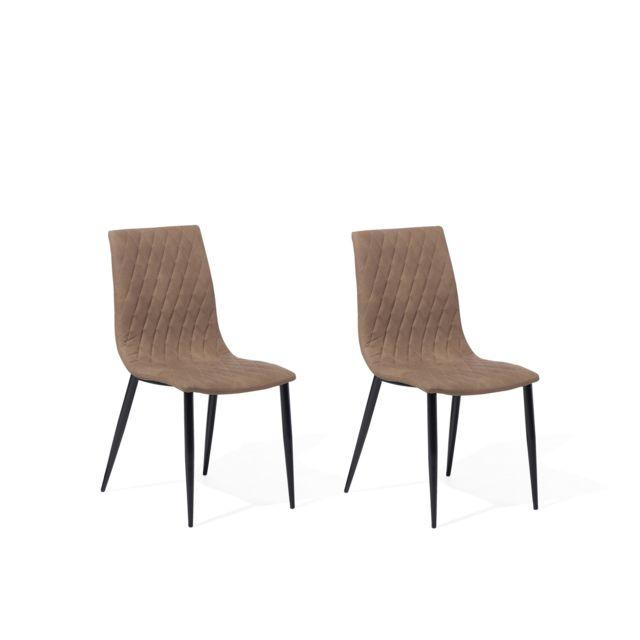 Lot de 2 chaises en simili cuir marron clair MONTANA beige