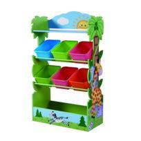 vente chaude en ligne 0ca26 6a9e6 Meuble de rangement à jouets avec bacs en bois Safari ensoleillé enfants  TD-12799A