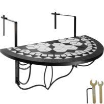 Table de Jardin, Table de Balcon Pliante Suspendue en Mosaïque 76 cm x 65  cm x 57,5 cm Blanc Noir