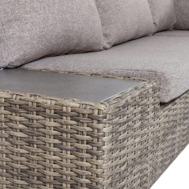 Salon bas de jardin en rotin gris et coussins gris TAVIRA - L 230 x l 230 x  H 65