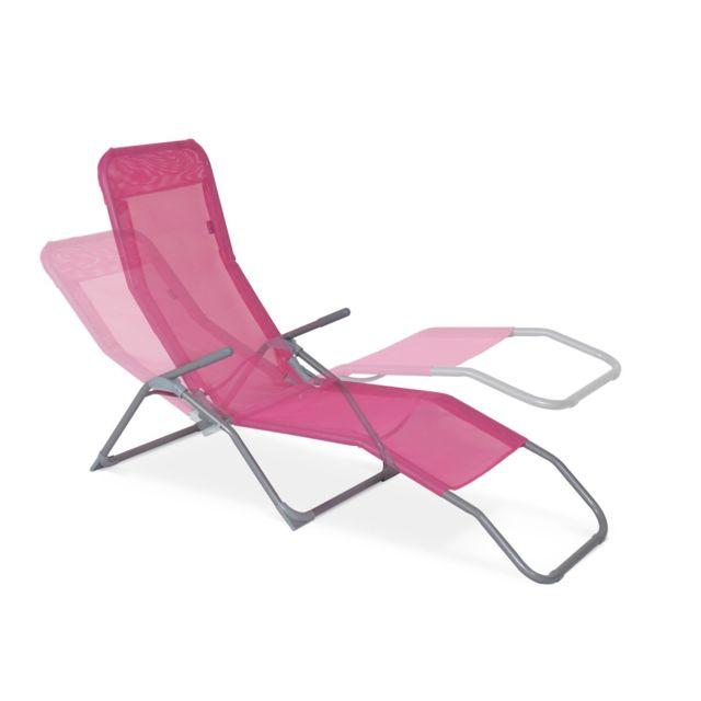 Lot de 2 bains de soleil pliants Levito Rose Transats textilène 2 positions, chaises longues