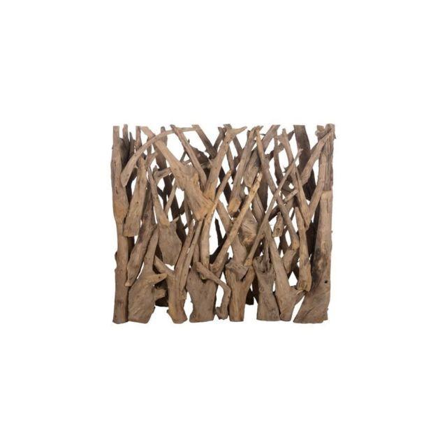 Brise vue en teck véritable- 118 x 28 x 110 cm - Marron naturel