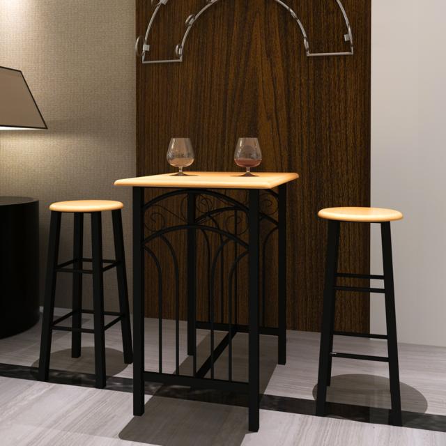Vidaxl Lot d'une table haute de bar avec 2 tabourets ''phoenix