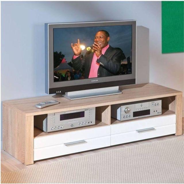 Inside 75 Meuble Tv Absoluto 2 tiroirs et 2 niches en bois blanc brillant et chene
