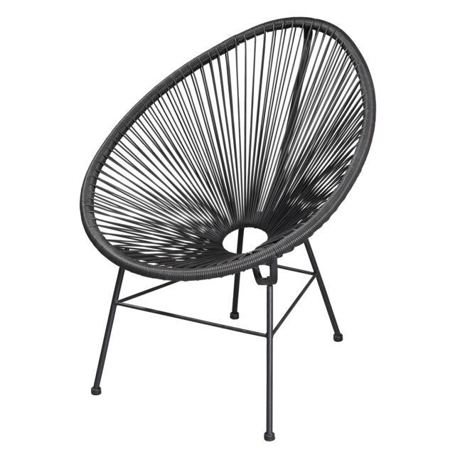 carrefour home - bahamas - fauteuil acapulco - noir - pas cher achat