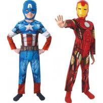 Marvel - 154992M - DÉGUISEMENT Pour Enfant - Bi Pack - Avengers Assemble - Captain America + Iron Man - Taille M