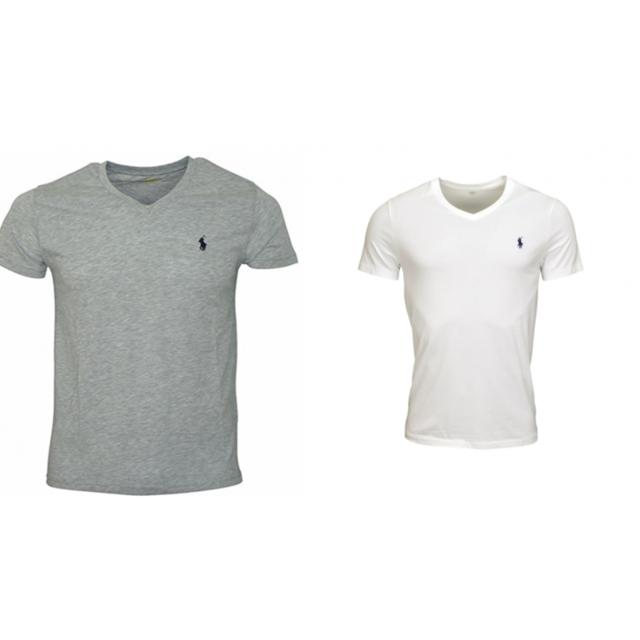 Ralph Lauren Lot De 2 T shirts Col V Gris Et Blanc pas