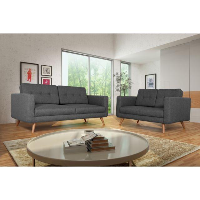 Rocambolesk Canapé Hedvig 3+2 savana 05 anthracite pieds naturels sofa divan