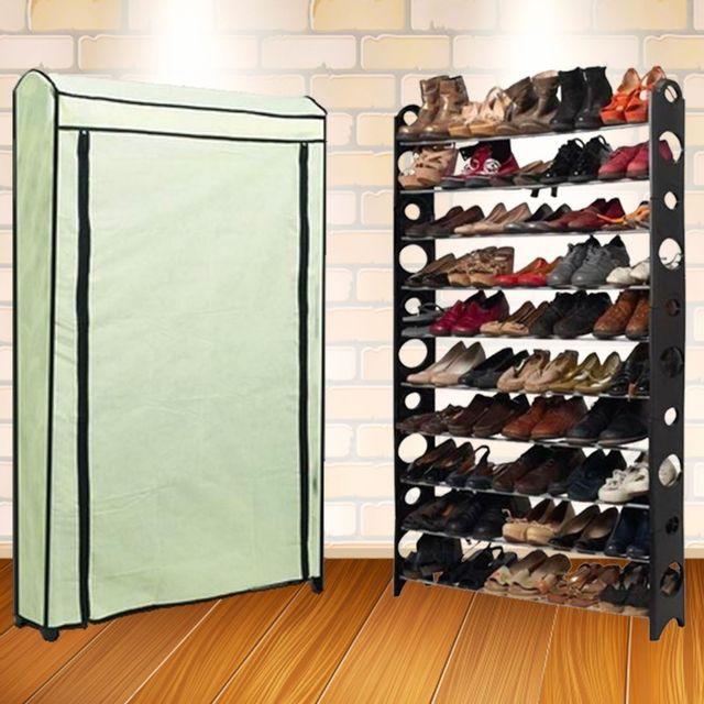 Idmarket etagère range <strong>chaussures</strong> 50 paires modulablehousse écrue
