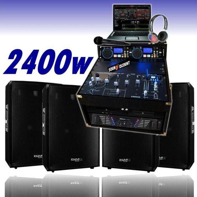 Ibiza Sound Sono dj 2400w ampli cd usb 4 enceintes micro