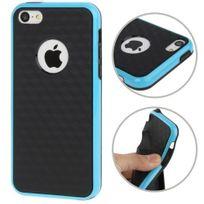 Techexpert - Coque en tpu + contour plastique pour iphone 5C petits motifs cubes bicolore bleu / noir