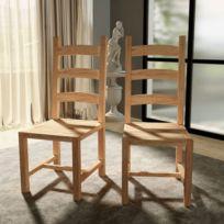 sans marque chaises de salle manger massives 2 pices 455x53x111cm teck