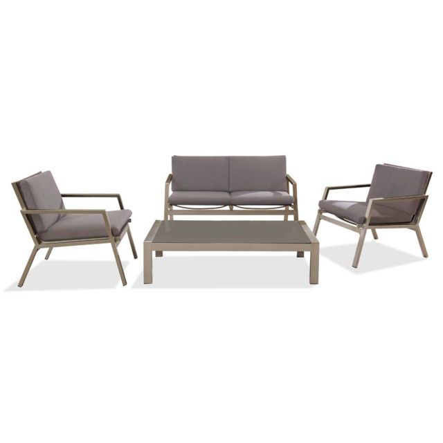 Dcb Garden - Salon de jardin bas en aluminium et textilène brun ...
